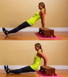 Upper Body: Triceps Dips: Position your hands shoulder-width apart on a secured bench or stable chair. Move your bum in front of the bench with your legs bent and feet placed about hip-width apart on the floor. Triceps Workout, Toning Workouts, Easy Workouts, Arm Exercises, Arm Toning, Sport Fitness, Body Fitness, Health Fitness, Wellness Fitness