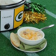 Slow Cooker Cheddar Ale and Bratwurst Soup in the Green Bay Packers NFL Crock-Pot® Cook & Carry™ Slow Cooker