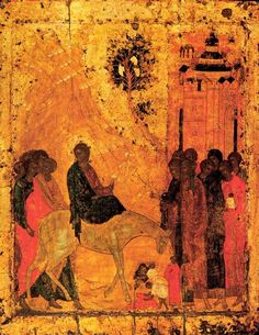 Lord's entry into Jerusalem, 1405 by Andrei Rublev. Byzantine. religious painting. Cathedral of the Annunciation (Moscow Kremlin), Moscow, Russia