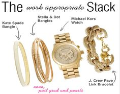 "How to Create the perfect bracelet ""stack"" that's work-appropriate yet fashionable.  postgradandpearls.tumblr.com"