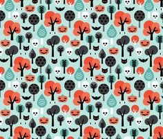 Crazy halloween pumpkin cat and skull illustration pattern fabric by littlesmilemakers on Spoonflower - custom fabric