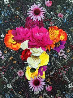 flower collage in shape of cross