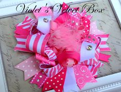 Pink Hair bow- Over The ToP- boutique hair bow - FUNKY bow by Violet's Velvet Box. $9.99, via Etsy.