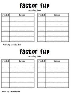 Crafty image for factor game printable