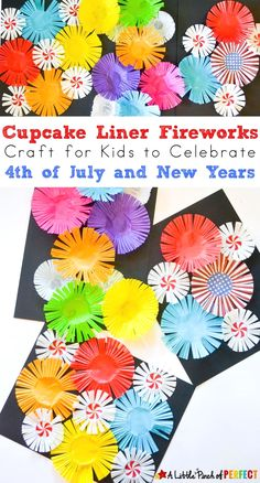 Cupcake Liner Fireworks Craft for Kids: Make colorful fireworks that seem to burst off the page using cupcake liners for an easy Patriotic Craft for the Fourth of July or New Years Day (easy kids craft, summer, scissor skills) kids' crafts New Year's Crafts, July Crafts, Easy Crafts For Kids, Toddler Crafts, Projects For Kids, Arts And Crafts, Bonfire Crafts For Kids, Spring Kids Craft, Summer Crafts For Preschoolers