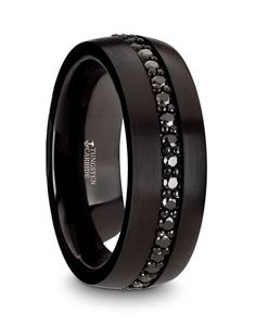 Thorsten Infinity Beveled Edge Black Tungsten Ring 7mm Wide Wedding Band from Roy Rose Jewelry