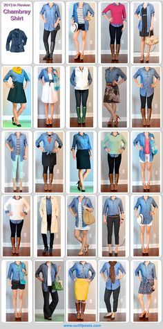 Lots of outfit ideas with a chambray shirt