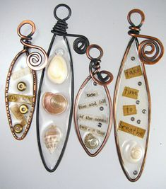 Wire bezels filled with clear resin
