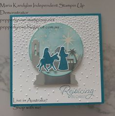 Hi everyone! Today I am sharing a snow globe card I have created, using the new Stampin Up Night in Bethlehem Bundle and the new Everyda...