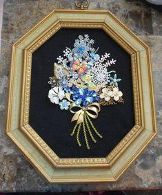 OOAK Framed Rhinestone Jewelry Flower Bouquet by TrendyCharm