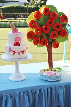 Check out this fun Peppa Pig Birthday Party! The cake and donut tree are awesome!! See more party ideas and share yours at CatchMyParty.com