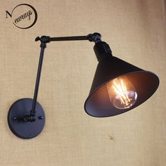 antique black reto industrial metal shade MINI wall lamp with long swing arm for workroom bedside bedroom illumination sconce - Luxury Designer Fixures antique Swing Arm Wall Sconce, Wall Sconce Lighting, Wall Sconces, Black Wall Sconce, Bathroom Sconces, Mirrors, Metal Industrial, Retro Lampe, Black Wall Lights