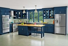 Love this Blue Kitchen Cabinetry