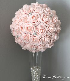 PINK BLUSH Flower Ball With Large CRYSTAL RHINESTONE BROOCHES. Brooch Flower Girl Bouquet. Bridesmaids Bouquet. Wedding Centerpiece. Bridal Shower. Baby Shower. Quinceanera. Sweet 16. PICK ROSE COLOR!! PICK SILVER Or GOLD BROOCHES!! 7 Flower Ball is pictured. (IMAGES 1-7) 14 Flower Ball is pictured Peach Wedding Centerpieces, Red Centerpieces, Wedding Decorations, Mickey Centerpiece, Quinceanera Centerpieces, Kissing Ball, Flower Girl Bouquet, Flower Brooch, Blush Flowers