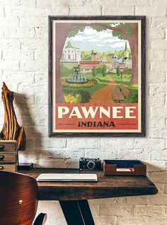 I designed this artwork to be a subtle and classy way to show that youre a fan of Parks and Recreation. Only fellow Parks and Recs fans will be able to appreciate your fandom, while outsiders will simply think this is a cool, retro travel poster.  One of my favorite episodes of Parks and Rec takes place during Season 6, when Ann & Chris leave the town of Pawnee (Season 6, Episode 12). The episode really showcases the deep and meaningful friendships that have formed over the course of the ...