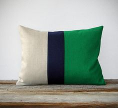 Brooke:  this could be your total color scheme.  Kelly green and navy block stripe pillow. Love!