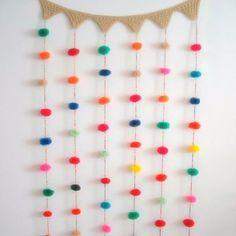 cortina de diseño de pompones 1 m de alto x 60 cm de ancho