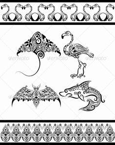 Animal ornaments (flamingo, shark, bat, stingray) - cundrawan 703 GraphicRiver Item for Sale