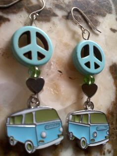 Kaylee would LOVE these!  Hippie Peace Love Volkswagen VW Bus Sterling Silver by mamasteele, $20.00