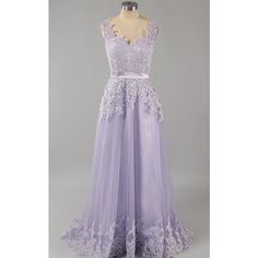 Lace Tulle V Neck Floor Length Sleeveless Lilac Appliques Lace Open... (1.040 DKK) ❤ liked on Polyvore featuring dresses, gowns, long prom gowns, long lace dress, purple lace dress, prom gowns and prom dresses