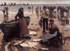 "Stanhope Forbes, ""A Fish Sale on a Cornish Beach"", 1885"