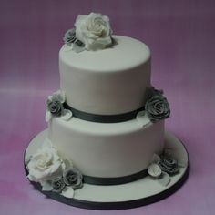 Silver and grey wedding cake - 2 tier