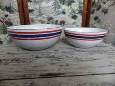 Two vintage enamelware bowls made in Norway and sporting the Norwegian colors…