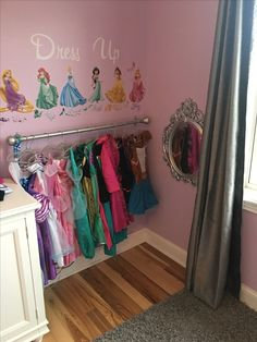 Girls Dress up corner perfect for a little princess Girls Dress up corner perfect for a little princess Say Goodbye To Dangerous Metal Bristles Girl's Princess Room Decor Little Girl Dress Up, Girls Dress Up, Baby Dress, Toddler Dress Up, Disney Princess Bedroom, Princess Curtains, Princess Room Decor, Princess Disney, Disney Girls Room