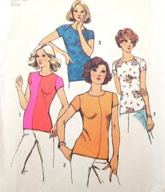 Stretch Knit Top Pattern T Shirt 1970s Simplicity by WildPlumTree, $5.00