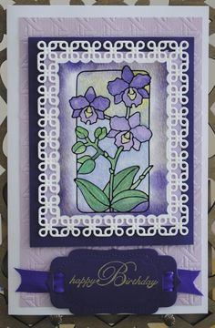Die cuts by Spellbinders, Flower peel off sticker by Elizabeth Craft Design, colored with H2O water colors, BD stamp by Ditto.