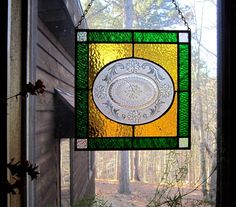 Charming stained glass gift etched plate stained glass panel window treatment