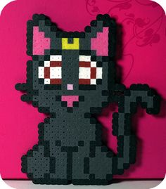 Sailor Moon Luna Perler Bead Magnet by kittendrumstick on Etsy