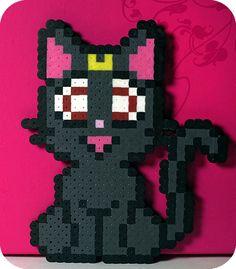 Sailor Moon Luna Perler Bead Magnet by kittendrumstick on Etsy