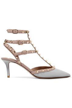 Valentino - Rockstud Patent-leather Pumps - Light gray - IT