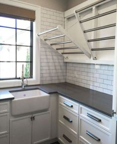 Beautiful Laundry Room Tile Design Ideas (33) Laundry Room Drying Rack, Drying Room, Laundry Hanging Rack, Mudroom Laundry Room, Hanging Drying Rack, Laundry Hanger, Laundry Room Remodel, Kitchen Drying Rack, Laundry Room Bathroom