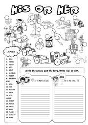 English teaching worksheets: His/her