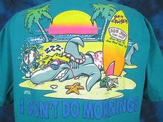 vtg-90s-RON-JON-SURF-FLORIDA-BEACH-SHARK-SUNSET-POCKET-T-Shirt-XL-skate-cartoon