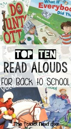 Great list of 10 books for the first week of school, from the Upper Elementary Snapshots Blog.