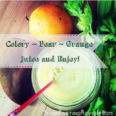 "Celery Pear Orange Juice #juice #juicing #juicefast #juiceoftheday #juicefastingmaven #raw #rawvegan #vegan #veganlove…"""