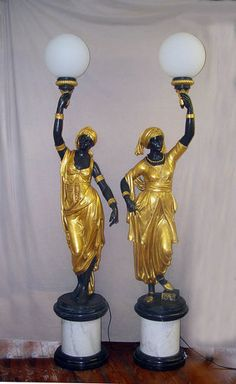 French Bronze Empire Nubian Candelabras Blackamoors Life Sized Statues