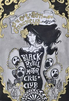 Pia Rajendra (GD). Gig poster for Black Rebel Motorcycle Club.  [Click image/link for more images.]