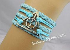 Jewelry harry potter Bracelets,Hipsters jewelry,Deathly Hallow Bracelet bracelet,Couple Bracelets Leather,leather bracelet,charm bracelet on Wanelo