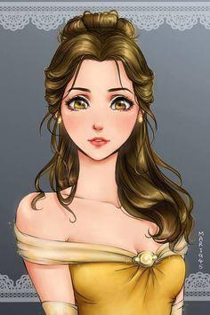 Princesas Disney em estilo Anime - Just Lia Disney Belle, Film Disney, Disney Girls, Disney Movies, Esmeralda Disney, Tinkerbell Disney, Punk Disney, Disney Princesses And Princes, Disney Princess Drawings