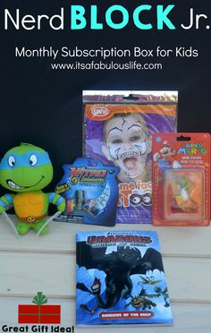 Gift Idea For Tweens Teens and Gamers Nerd Block Jr Review.  Monthly subscription box for kids 6-11 (Choose from boys or girls box).  I love the idea for a subscription box for a Christmas gift!