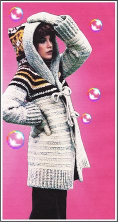 CROCHET PATTERN - Hoodie Sweater  - Vintage 70's Hooded Sweater Jacket  - Coat & Mittens - Sweater Cardigan - PDF Instant Download - Digital