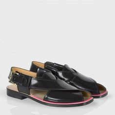 Paul Smith Men's Shoes - Black High-Shine Leather Robert Sandals