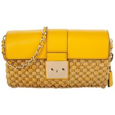 Michael Kors Evening Bags, MICHAEL Straw Gabriella LG Clutch Sunflower... ($315) ❤ liked on Polyvore featuring bags, handbags, yellow, yellow purse, handbags purses, man bag, straw tote and handbags totes