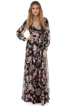Roselyn Black Floral Romance Dress