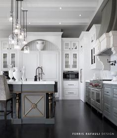 White Upper Cabinets and Gray Lower Cabinets with Gray Kitchen Island... - http://centophobe.com/white-upper-cabinets-and-gray-lower-cabinets-with-gray-kitchen-island/ -