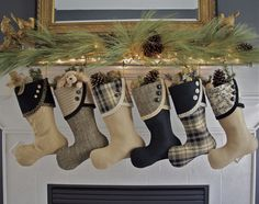 Black & Gold Christmas Stockings--South House Designs. The most beautiful collection of stockings anywhere!!